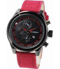 curren- 8196 lona de reloj deportivo para hombre-rojo
