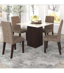mesa de jantar 4 lugares bolero com vidro branco 11558 ameixa/malta - mobilarte móveis