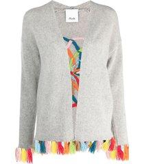 allude tassel-trim embroidered cardigan - grey