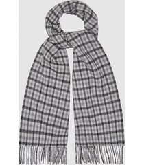 reiss cox - wool cashmere blend scarf in black/white, mens