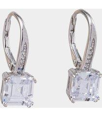 women's laila square baguette drop earrings in silver by francesca's - size: one size