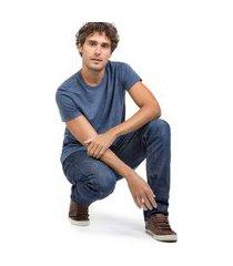 t-shirt básica comfort mescla azul marinho azul marinho/p