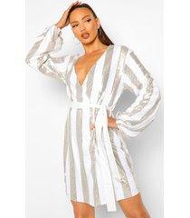 tall gestreepte mini wikkel jurk met riem met pailletten, silver