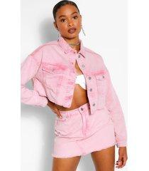 acid wash cropped jean jacket, pink
