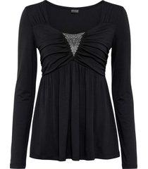 maglia a maniche lunghe con applicazione (nero) - bodyflirt