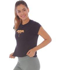 camiseta at home negra con estampado - mujer