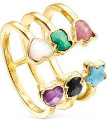 anillo abierto glory de plata vermeil con gemas 918595520