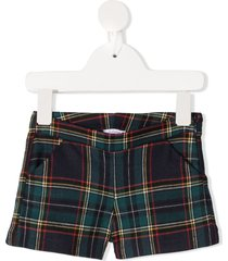 le bebé enfant checked skinny-fit shorts - blue