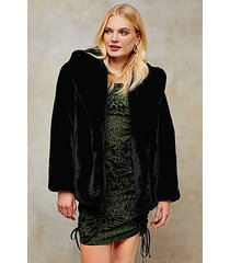black two tone faux fur coat - black