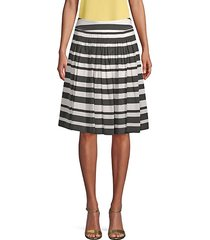 stretch silk stripe skirt