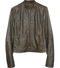 forzieri designer leather jackets, brown leather band collar motorcycle jacket