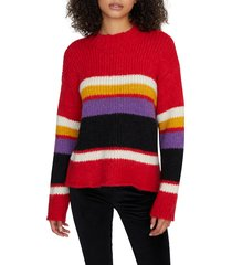 petite women's sanctuary party stripe sweater, size large p - red