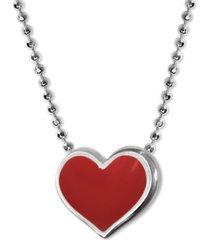 """alex woo enamel heart 16"""" pendant necklace in sterling silver"""