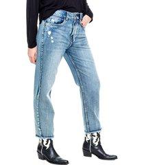 mom fit cropped jeans silueta amplia con ruedo desflecado (se sugiere comprar una talla menos a la habitual) color blue