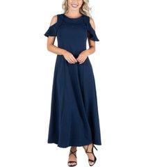 women's ruffle cold shoulder a-line maxi dress