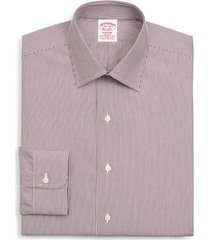 brooks brothers madison classic fit stripe dress shirt, size 14.5 - 32 in dark red at nordstrom