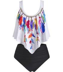 plus size feather print overlay tankini swimwear