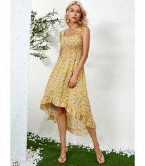 vestido a media pierna con dobladillo con volantes plisado y diseño sin espalda de calicó amarillo