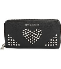 studded zip-around leather wallet