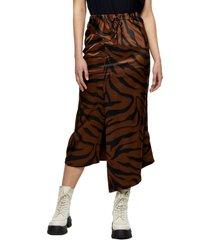 women's topshop animal print asymmetrical skirt, size 8 us - brown