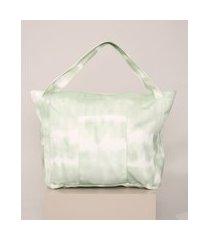 bolsa feminina estampada tie dye shopper verde
