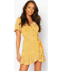 dalmation print ruffle tea dress, mustard