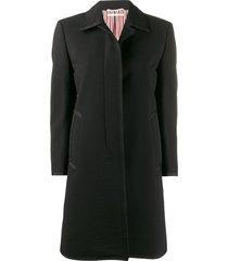 thom browne bal collar seersucker coat - black