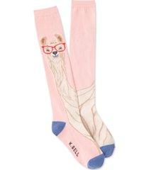 k. bell socks women's llama with glasses knee-high socks