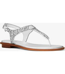 mk sandalo con glitter e logo - argento (argento) - michael kors