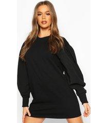 oversized puff sleeve sweatshirt dress, black