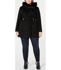 calvin klein plus size hooded faux-fur-trim coat