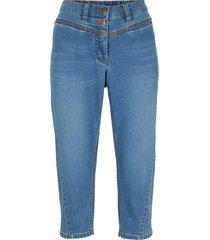jeans capri elasticizzati con cuciture modellanti e cinta comoda (blu) - bpc bonprix collection