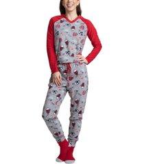 muk luks 3-pc. gift printed fleece top, pants & socks pajama set