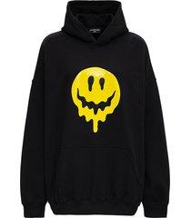 balenciaga drip peace hoodie in black jersey
