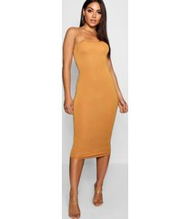 bandeau bodycon midi dress, mustard