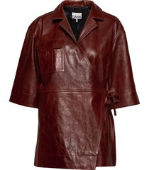 lamb leather overhemd met korte mouwen bruin ganni