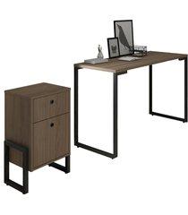 conjunto escritã³rio mesa escrivaninha 120cm e gaveteiro 2 gavetas estilo industrial new port f02 castanho - mpozenato - marrom - dafiti