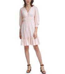 calvin klein textured ruched-waist dress