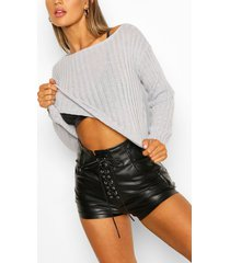 rib knit off the shoulder sweater, grey
