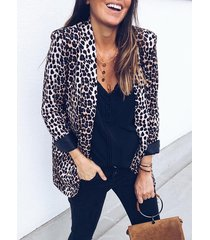 leopard lapel collar pockets blazer
