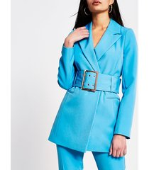river island womens blue large belted longline blazer