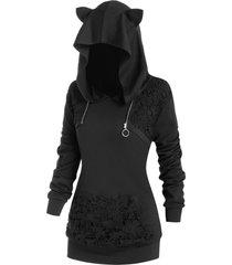 plus size cat ear crochet insert zip ring hoodie