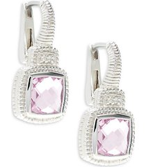 pink cubic zirconia, white topaz & sterling silver cushion drop earrings