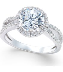 arabella swarovski zirconia rounded split shank ring in sterling silver, created for macy's