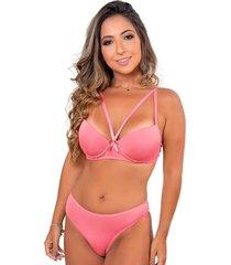 conjunto de calcinha e suti㣠strappy sigh duas rosa claro - rosa - feminino - dafiti