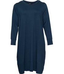 dress long sleeves plus round neck knälång klänning blå zizzi