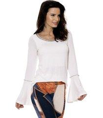 blusa bisô tricô bordada feminino