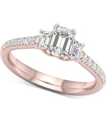 diamond emerald-cut engagement ring (1 ct. t.w.) in 14k rose gold