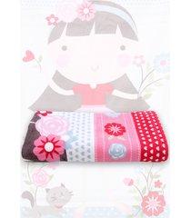 toalha de praia santista nina 70cmx1,40m rosa - tricae