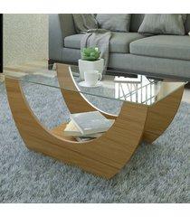 mesa de centro onda com nicho freijó - artely
